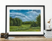 Clouds over Lush Meadow Oil Painting Giclée Print