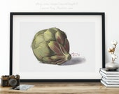 Artichoke Botanical Print Watercolor Art | Vegetable Watercolor Kitchen Decor | Gift for Chef | Home Office Art