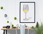 Glass of Chardonnay Wine Watercolor Print • Wine Prints • Home Bar Wall Decor • Gifts for Mom • Modern Kitchen Wall Decor • Minimal Bar Art