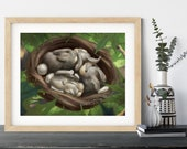 Bunny Nest Print | Woodland Animals Wall Decor | Cute Bunny Art Print | Woodland Nursery Art | Valentines Day Gift