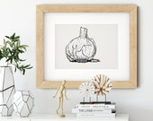 Garlic Art Black and White Print Kitchen Decor • Food Fine Art Print • Onion Art • Gifts for Mom • Modern Kitchen Wall Decor • 5x7 8x10