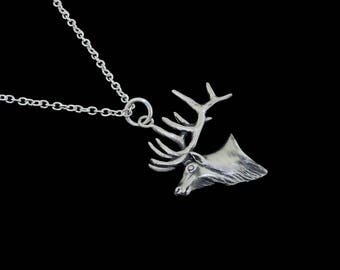 b05fdca0e Small Sterling Silver Bull Elk Head Pendant or Necklace (Optional Chain)