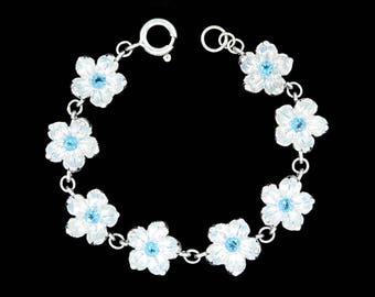 Sterling Silver Apple Blossom Flower Bracelet with Genuine Swiss Blue Topaz Center Stones