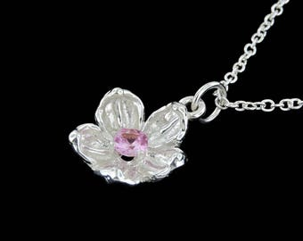 Sterling Silver Apple Blossom Flower with a Genuine Pink Sapphire Center Stone Pendant or Necklace (Optional Chain)