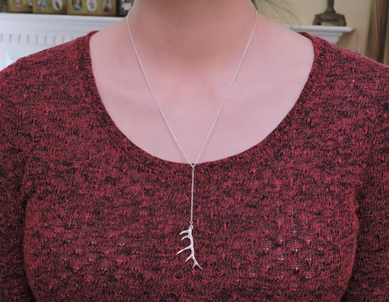 Sterling Silver Small Elk Antler Y Necklace