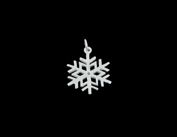 Optional Chain Sterling Silver High Polished Snowflake with .05ct Blue Diamond Center Pendant or Necklace
