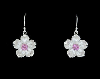 Sterling Silver Apple Blossom Flower Earrings with Genuine Pink Sapphire Center Stones