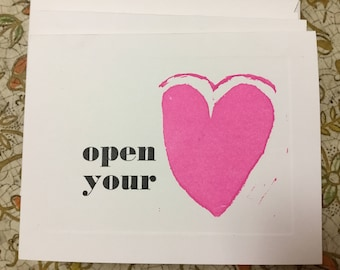 Open Your Heart LETTERPRESS all occasion valentine love card qty 4 with matching envelopes