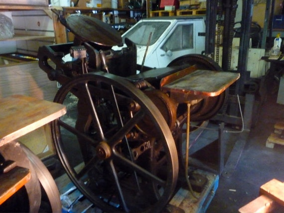 Old and New Style C&P Chandler and Price letterpress letterpresses with  motors