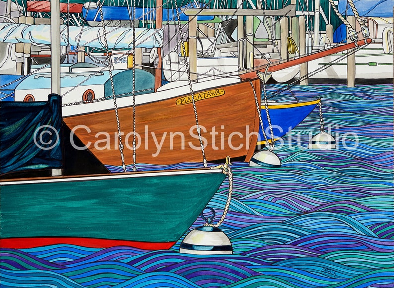 Afloat Macatawa - Matted Print and Greeting Card by Carolyn Stich Studio