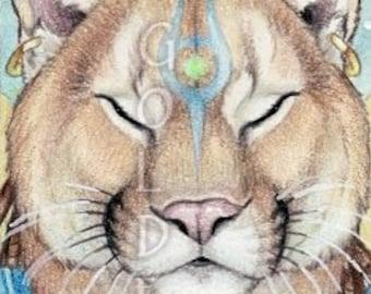 Mystical Praying Cougar Print