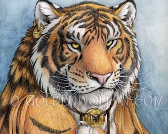 Tiger Man Portrait Print