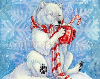 Arctic Fox with Peppermint Hot Cocoa Print
