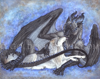 Odd Couple Dragonwolf and Wolf Cuddle Print
