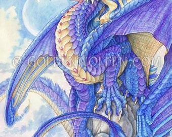 Purple Dragon Perches Over Sea Print