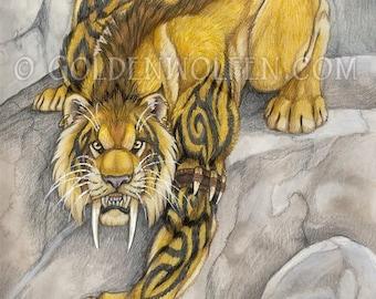 Anthro Tribal Saber Tooth Tiger Print