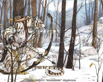 Anthro White Tiger Hunter Archer Print