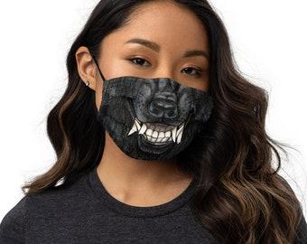 Black Werewolf Grin Premium face mask