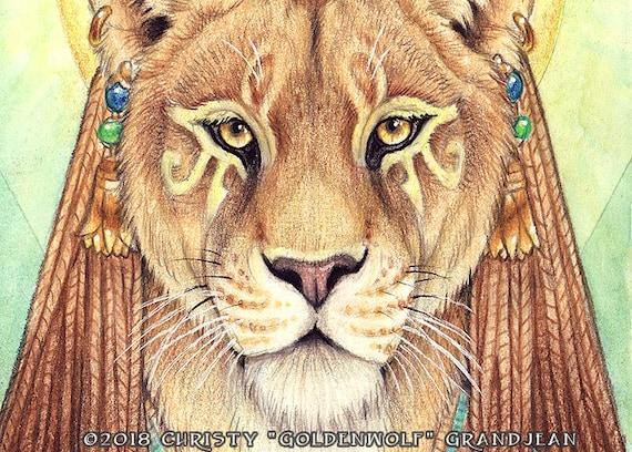 Sachmet Löwin ägyptische Göttin Druck