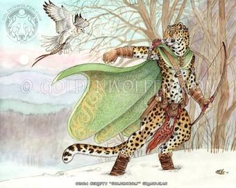 Amur Leopard Ranger with Gyrfalcon Print