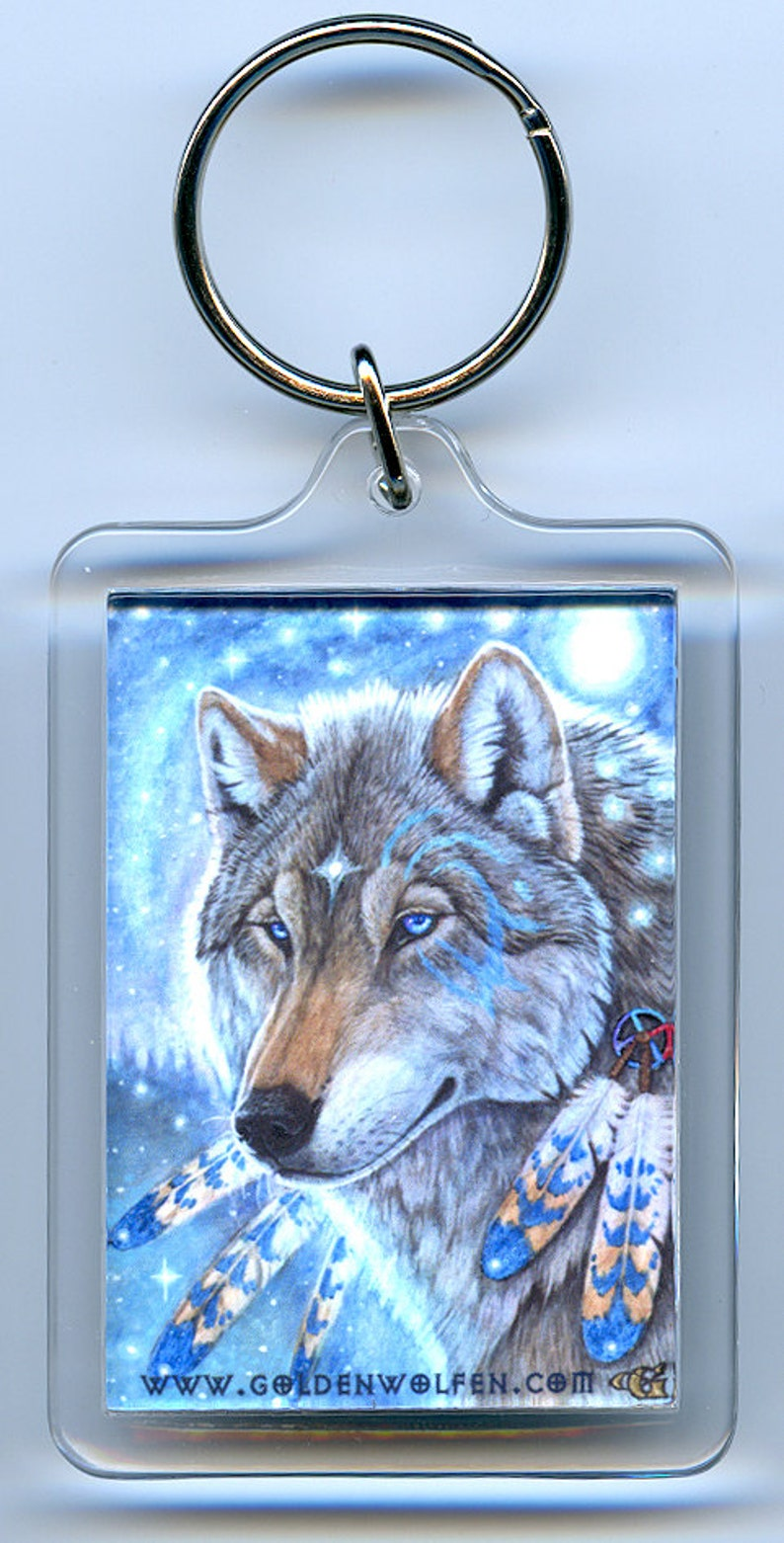 Mystic wolf wolves coyote coywolf keychain