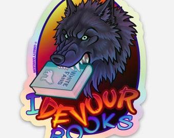 I Devour Books Werewolf Hologram Sticker
