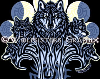 Tribal Wolfpack Decal Sticker