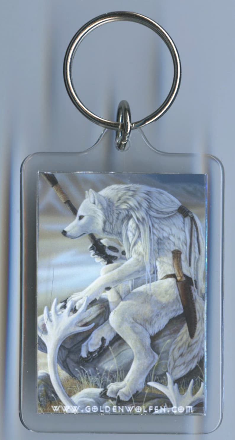 White wolf and white tiger keychain