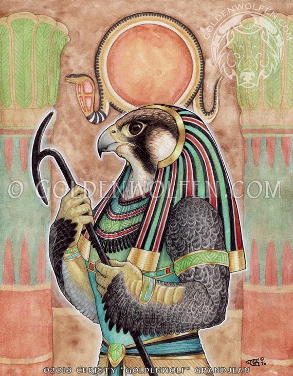 Ra Egyptian God Handmade Tobacco Smoking Hand Pipe Sun Ancient Deity Falcon Bird