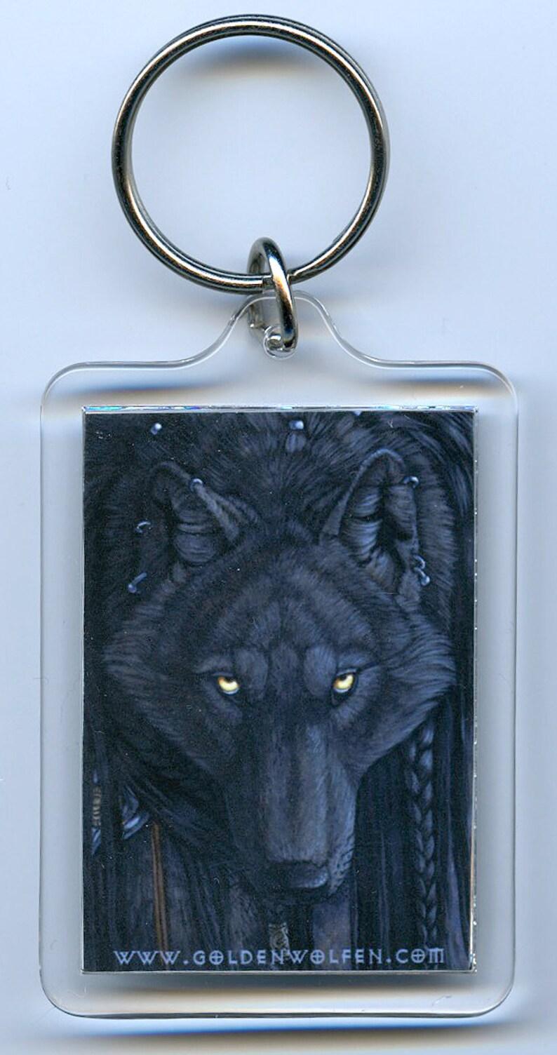 Black dark watching wolf wolves keychain