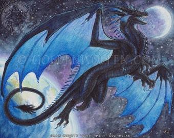 Cosmic Dragon Flies Through Space Print