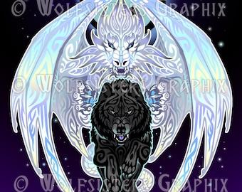 White Dragon Black Wolf Print