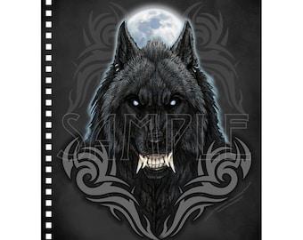 Werewolf Tribal Moon Notebook