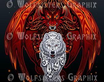White Wolf Red Dragon Print