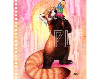 Red Panda With Ice Cream Notebook