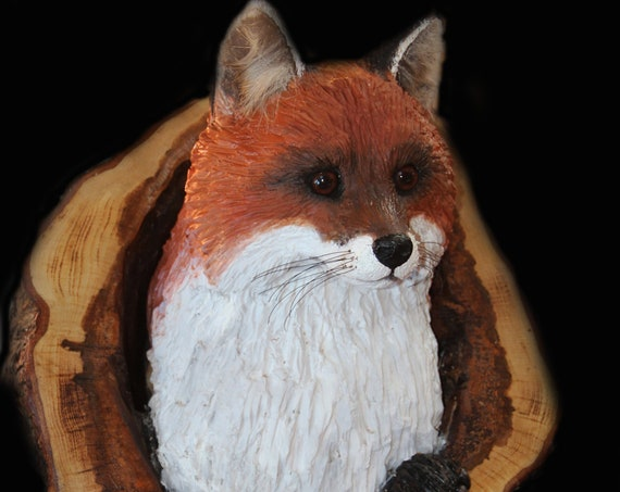 Wood Carving -Fox Carving- OOAK -  Hand Carved and Sculpted