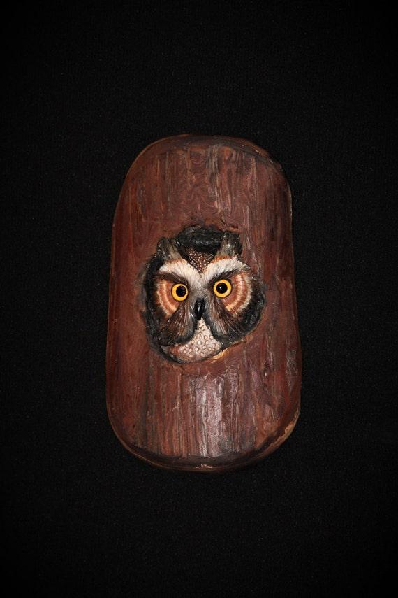 Wood Carving - Bird  - Owl -  Original Hand Carved -  Sculpture -  Wall Art