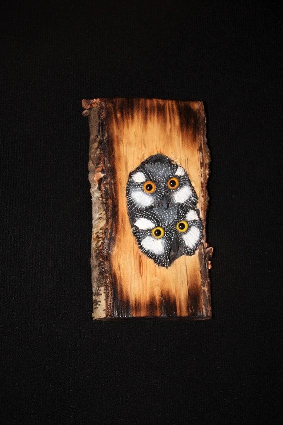 Wood  Carving Sculpture Bird Owl -  Owl Art - OOAK -  Hand Carved and Sculpted - Wall Art