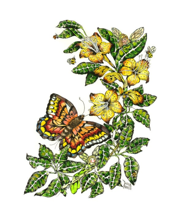 Blank All Occasion Greeting Card- Nature Butterfly -Thank You Note -Bird Art