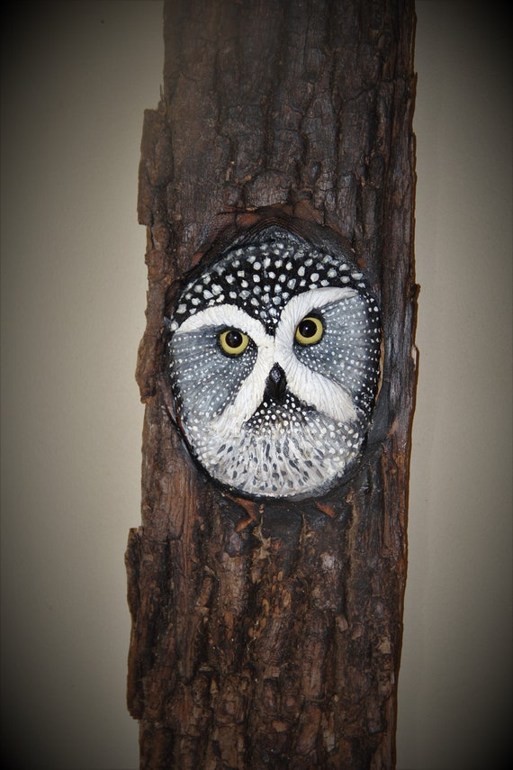 Wood  Carving Bird-  Owl Art - OOAK -  Hand Carved and Sculpted - Wall Art