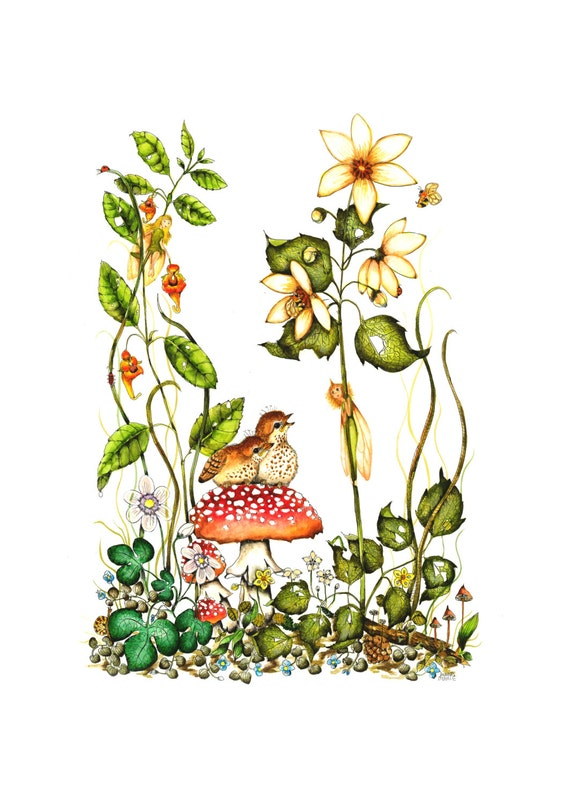 Fairy and Bird Art , Fantasy Print , Watercolor Print , Childs Room Art