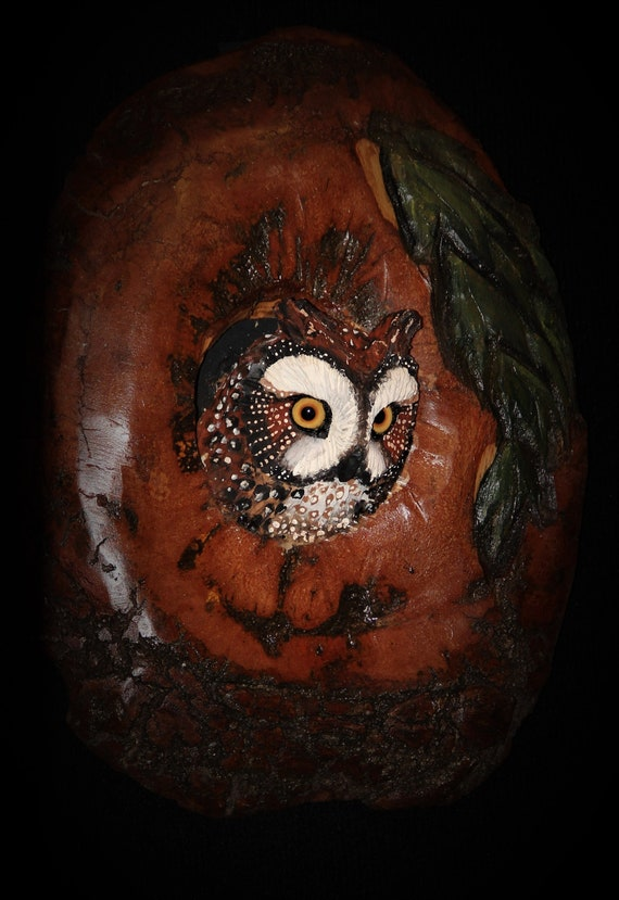 Wood Sculpture Carving -Owl Bird Sculpture - Barn Owl Art - OOAK - Hand Carved and Sculpted in Cherry