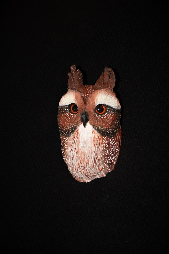 Wood Carving - Bird  - Owl -  Original Hand Carved -  Sculpture -  Wall Art