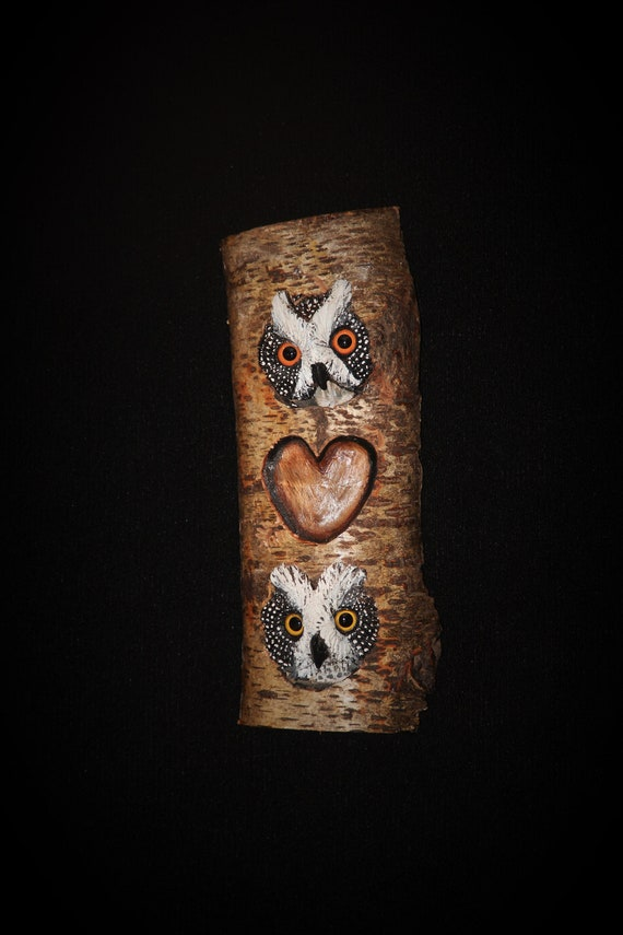 Personalized Wedding- Anniversary Monogrammed Wood Carving - Owl - Hand Carved Sculpture Wall Art