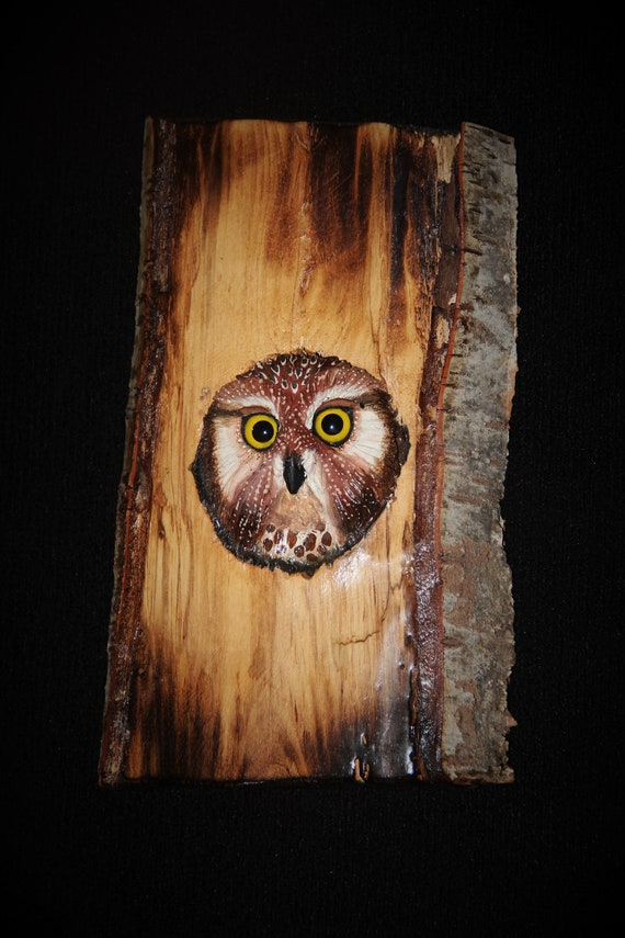 Wood  Carving Sculpture Bird Owl -  Owl Art - OOAK -  Hand Carved and Sculpted - Wall Art