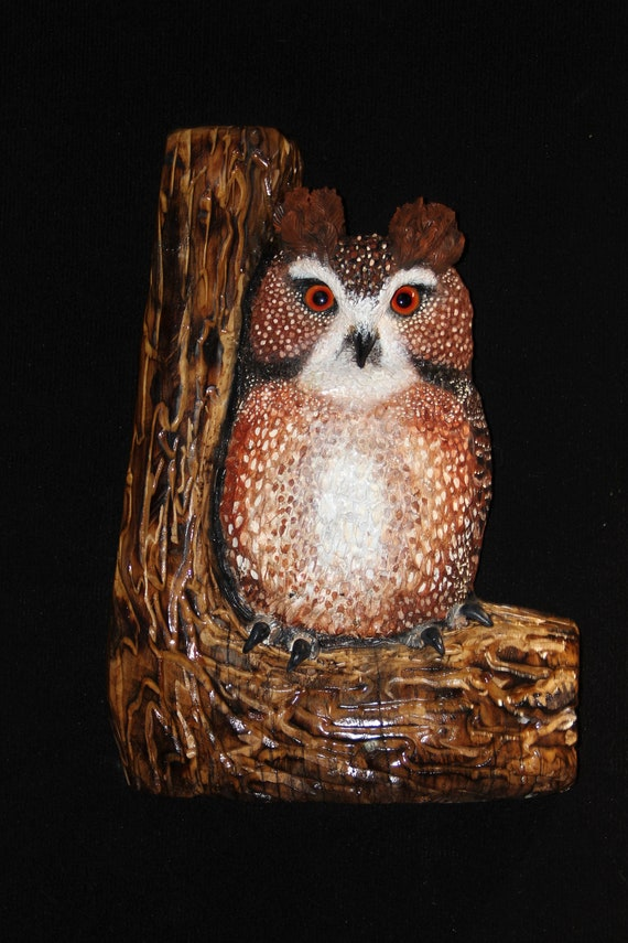 Wood Sculpture Carving -Owl Bird Sculpture - Barn Owl Art - OOAK - Hand Carved and Sculpted in Maple