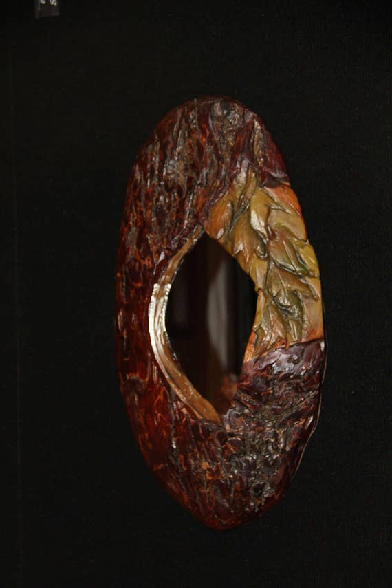 Natural  Wood Mirror with Hand Carved Leaves