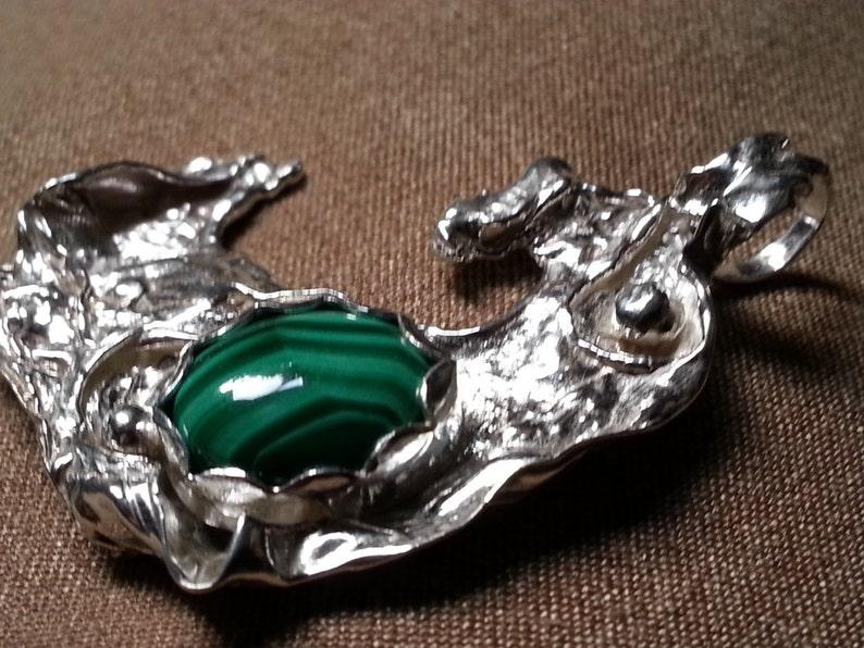 Sterling Silver Distressed Pendant Malachite Pendant Freeform Sculpted Pendant Malachite Pendant