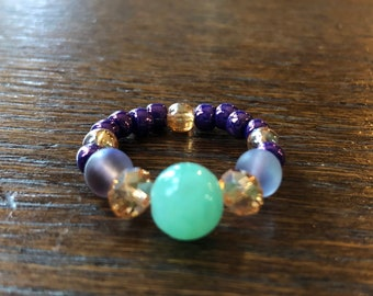 Beaded Ring, Romantic, Champagne & Purple with Green