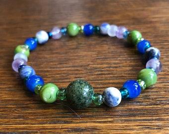 Mala Breathing Bracelet in Greens, Blues, and Amethyst, 4-7-8 Breathing Pattern